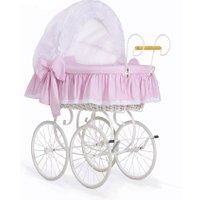 Brocante Rieten Wieg/Kinderwagen Dots Roze | 5908297432014