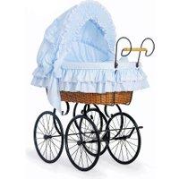 Klassieke Rieten Wieg/Kinderwagen Blauw | 5908297402604