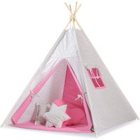 Tipi Speeltent Checkered Grey-Pink | 8718889090242