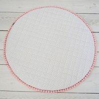 Wit Speelkleed met Grijze Dots en Roze Pompoentjes Dolly-130 cm | 8718889092666
