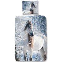 Flanel Dekbedovertrek White Horse | 8717285142944